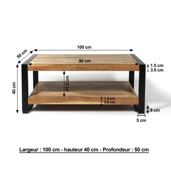 Petite Table Basse Industrielle 2 Plateaux En Acacia Made In Meubles En 2020 Escritorio De Madera Y Metal Mesas Ratonas De Madera Muebles Madera Maciza