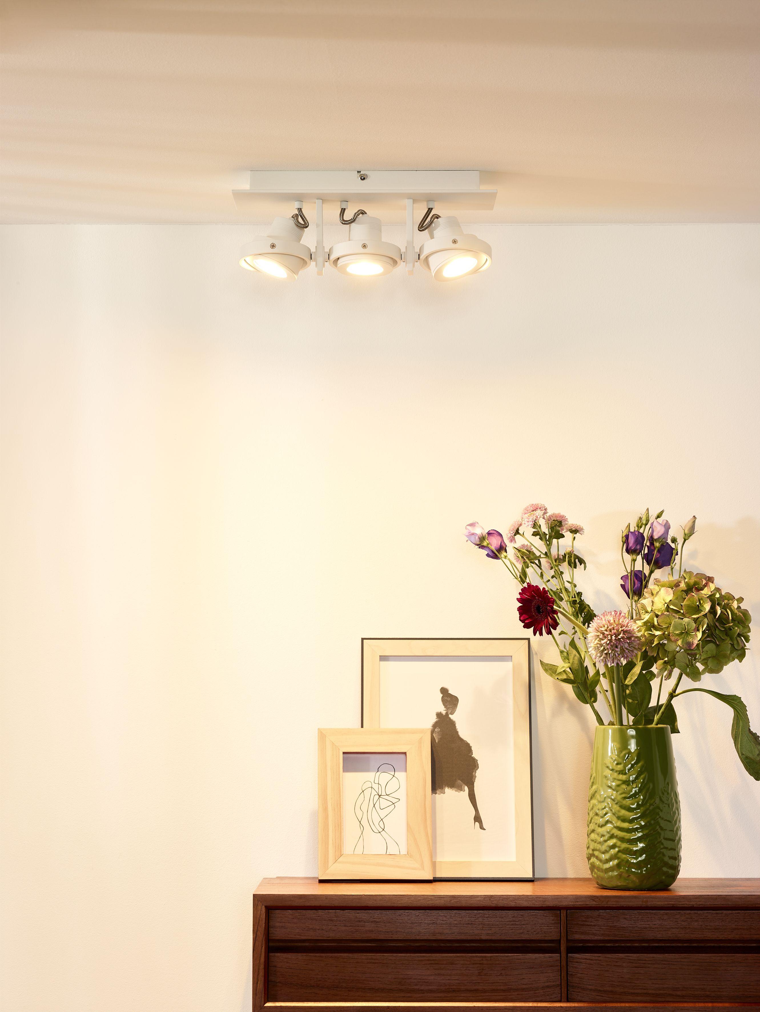 Lucide Landa Ceiling Spotlight Led Dim To Warm Gu10 3x5w 3000k 2200k White Ceiling Spotlights Led Dimmer Led Lights