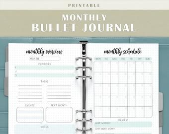 Printable monthly bullet journal dot grid planner bullet | Etsy