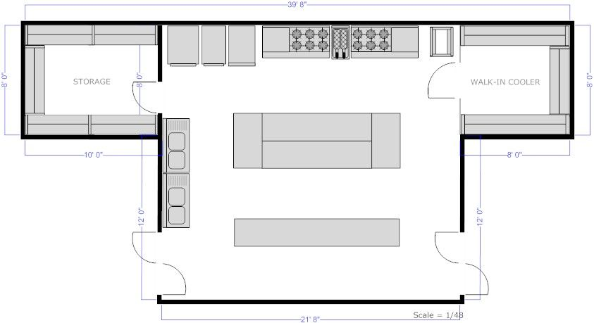 Restaurant Kitchen Central Island Floor Plan Detalles