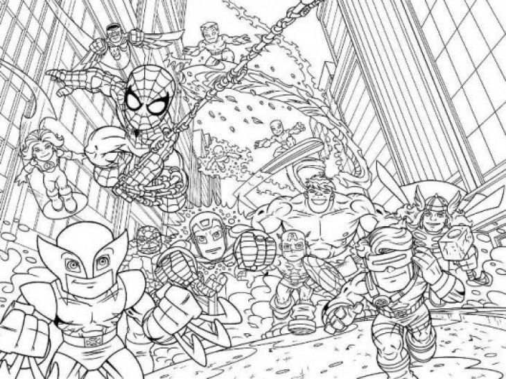 Super hero squad marvel coloring page printable for kids