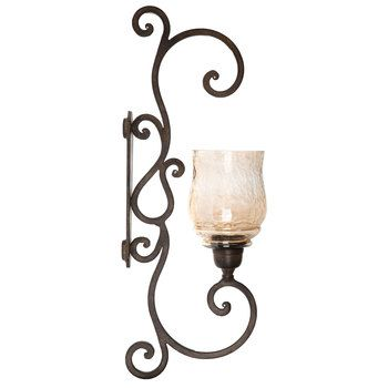 Rustic Bronze Scroll Wall Sconce With Glass Insert In 2019