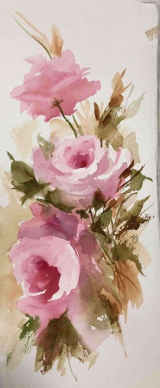 Epingle Par Ghislaine Biquet Sur Peinture Aquarelle Bouquet