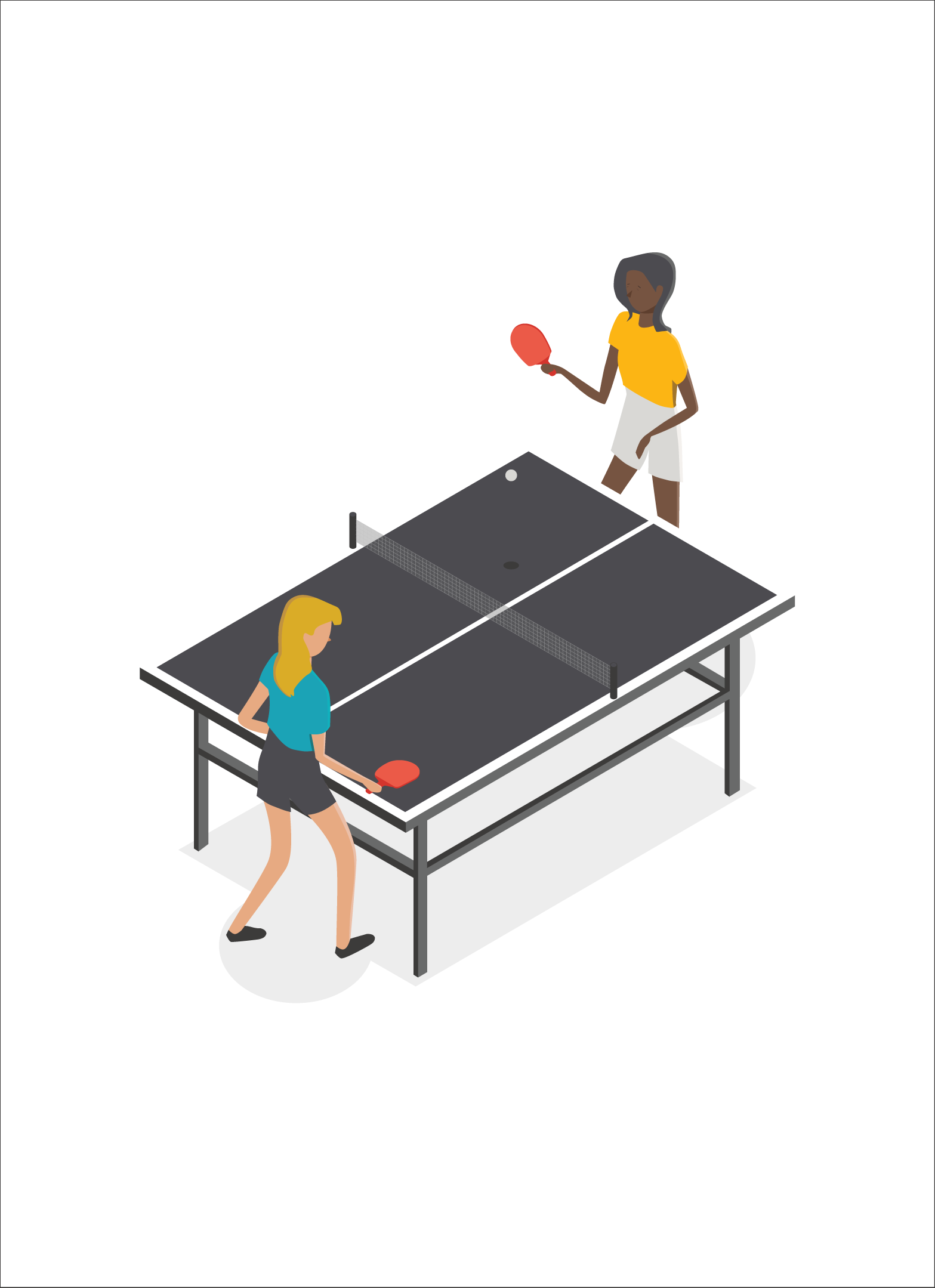 Isometric Playing Vector People Tennis Table Twoisometric Vector Two People Playing Table Diagram Architecture Architecture Collage Architecture Drawing