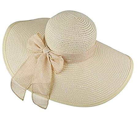 ericotry Womens Big Bowknot cappello di paglia Beach Cap Beachwear floppy  cappello pieghevole arrotolabile grandi cappelli fc5ff6012171