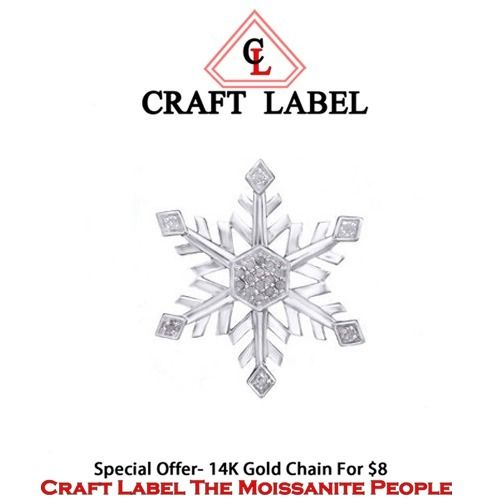 "1/5 Ct Round Brilliant Cut 14K Gold Snowflake Pendant Without Chain ""Mother\'s Day Gift"". Starting at $1"