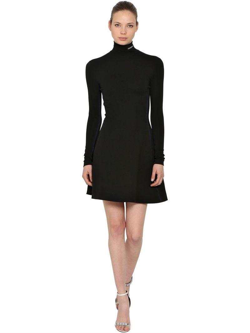 Calvin klein wnyc wool knit turtleneck dress black