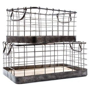 Wire Baskets Like These To Decorate Tops Of My Kitchen Cabinets With Rh  Pinterest Com Hobby Lobby Small Wire Baskets Hobby Lobby Storage Boxes