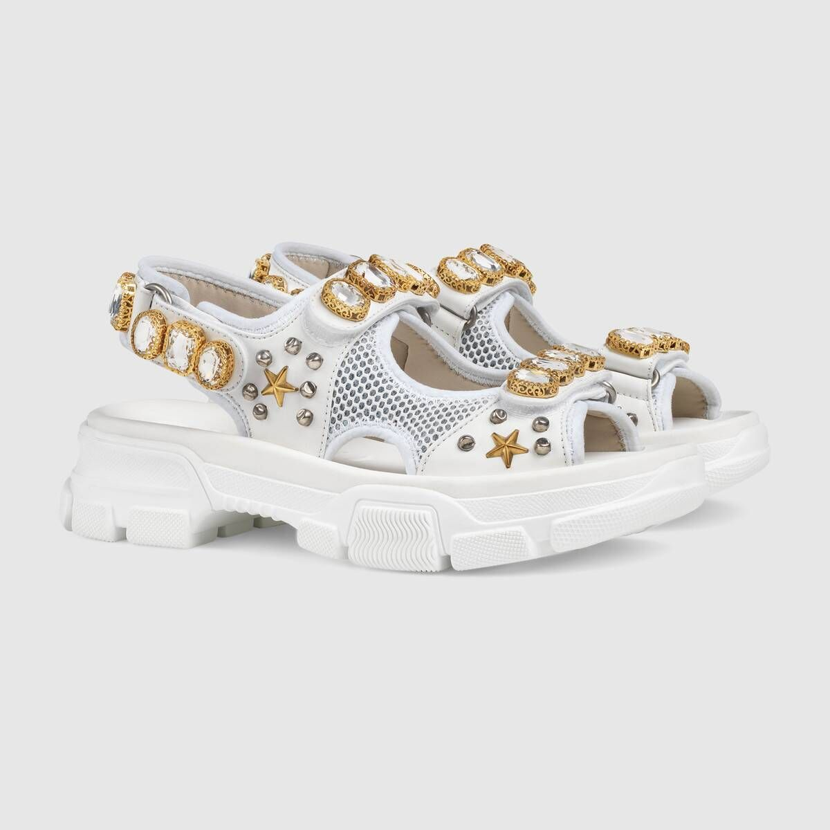 Shop The White Leather And Mesh Sandal With Crystals At Gucci Com Enjoy Free Shipping And Complimentary Gift Wrapping Womens Sandals Shoes Gucci Leather