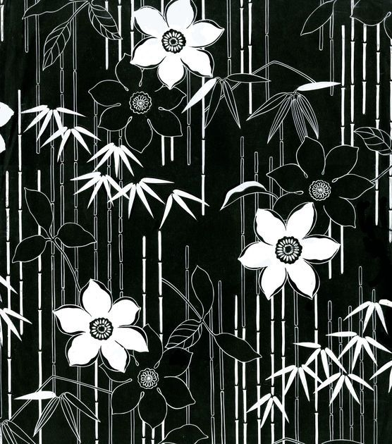 Tropical Fabric - Black White Bamboo Floral Poplin
