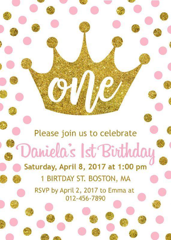 1st Birthday Invitation Princess Crown Girl First An