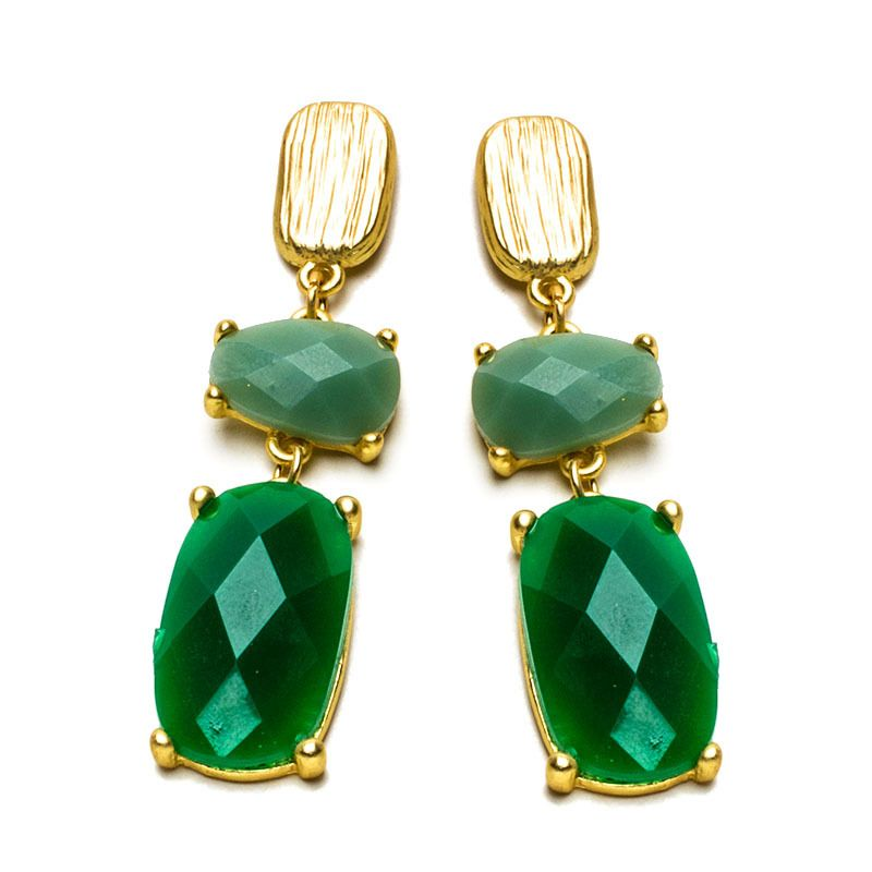 """These gemmed earrings provide a sophisticated aesthetic without being overbearing. A light gradient tastefully creates movement between the two stones.    -Gold plated metal    -Available in green and black"""