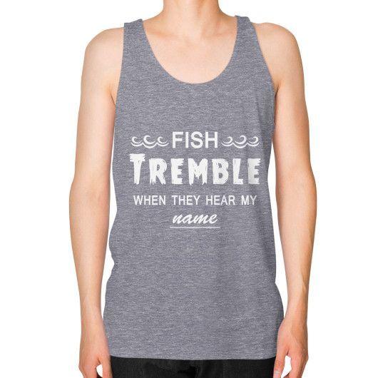A mighty fisherman Unisex Fine Jersey Tank (on man)