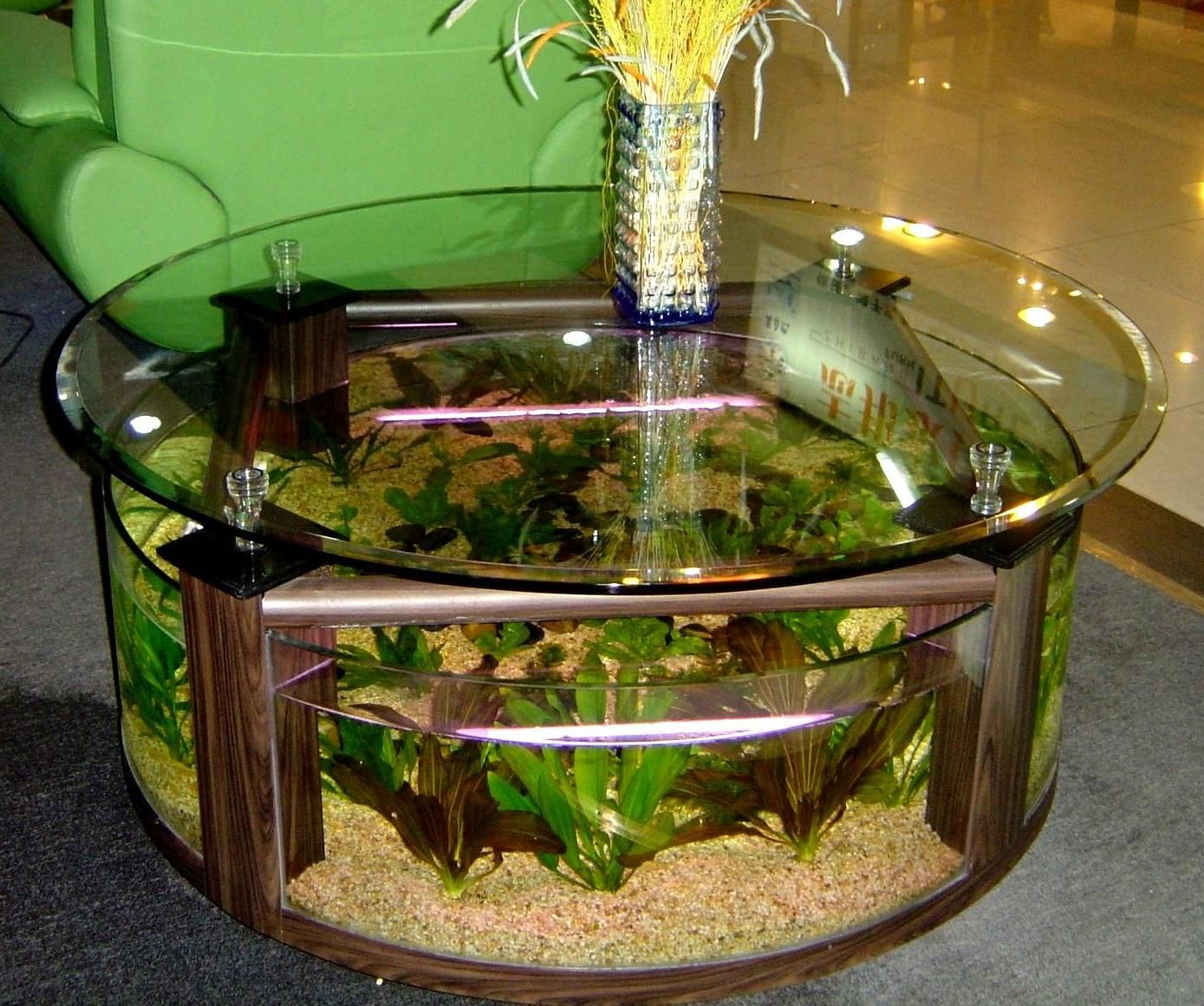 Interesting Fish Tank Living Room Ideas For Glass Table With Beautiful  Yellow Flower Above Table Then