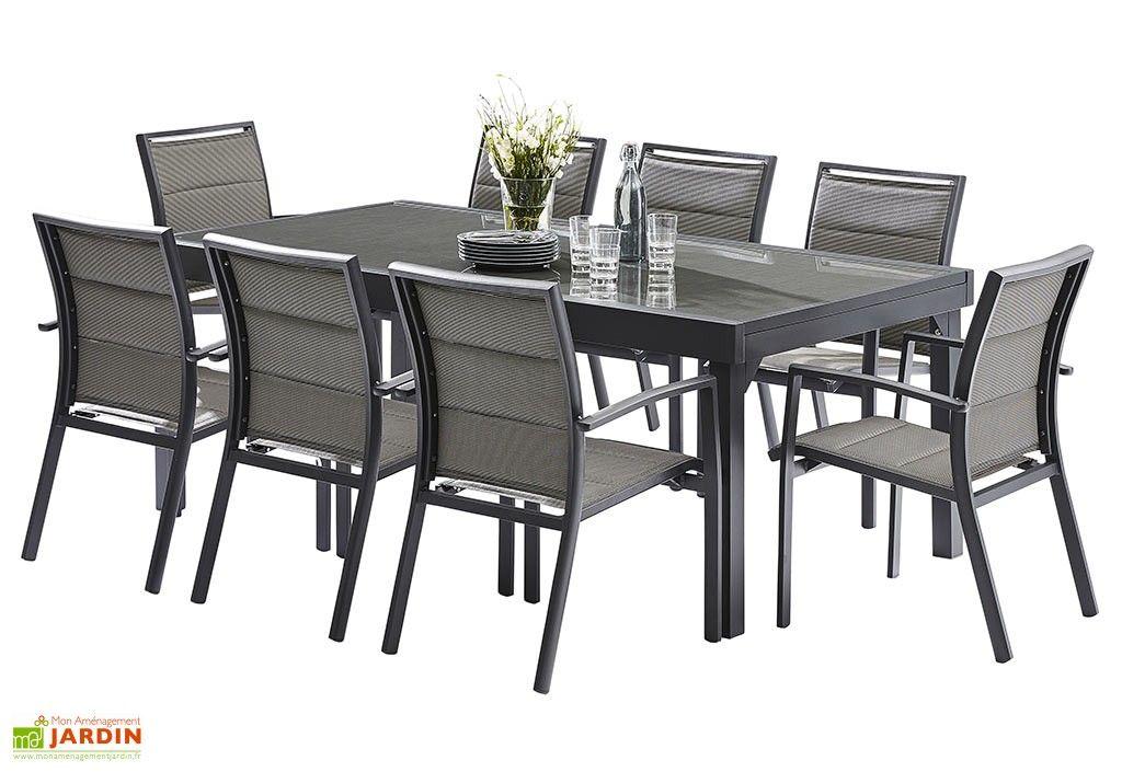 Salon de jardin Modulotex : Table Extensible + 8 Fauteuils ...