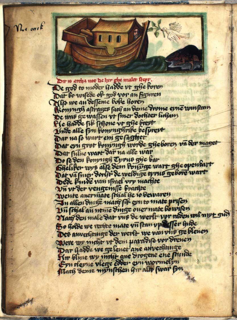 """Speculum humanae salvationis, """"Den menneskelige frelses spejl"""", har sin oprindelse i et latinsk værk fra begyndelsen af 1300-tallet, men teksten blev i den efterfølgende tid flittigt bearbejdet og oversat, og den blev udgangspunktet for en rig billedkunstnerisk tradition. I dette rigt illustrerede håndskrift er teksten oversat til nedertysk.  Håndskriftet er fremstillet i Tyskland i første halvdel af 1400-tallet. Der er tilføjet forklarende tekster til billederne på dansk i en hånd fra…"""
