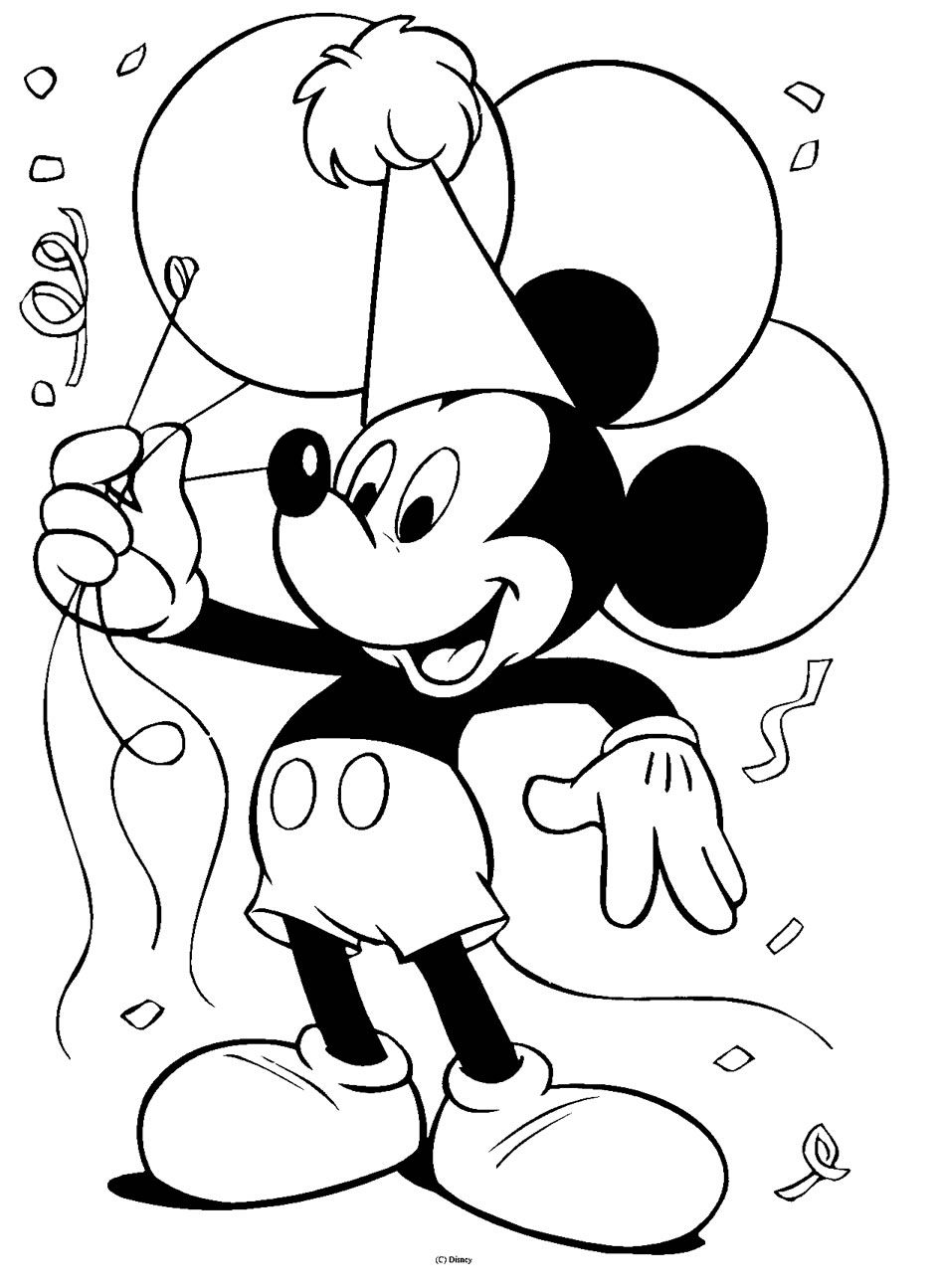 Topolino in Festa da colorare #disegnidacolorare #colora # ...