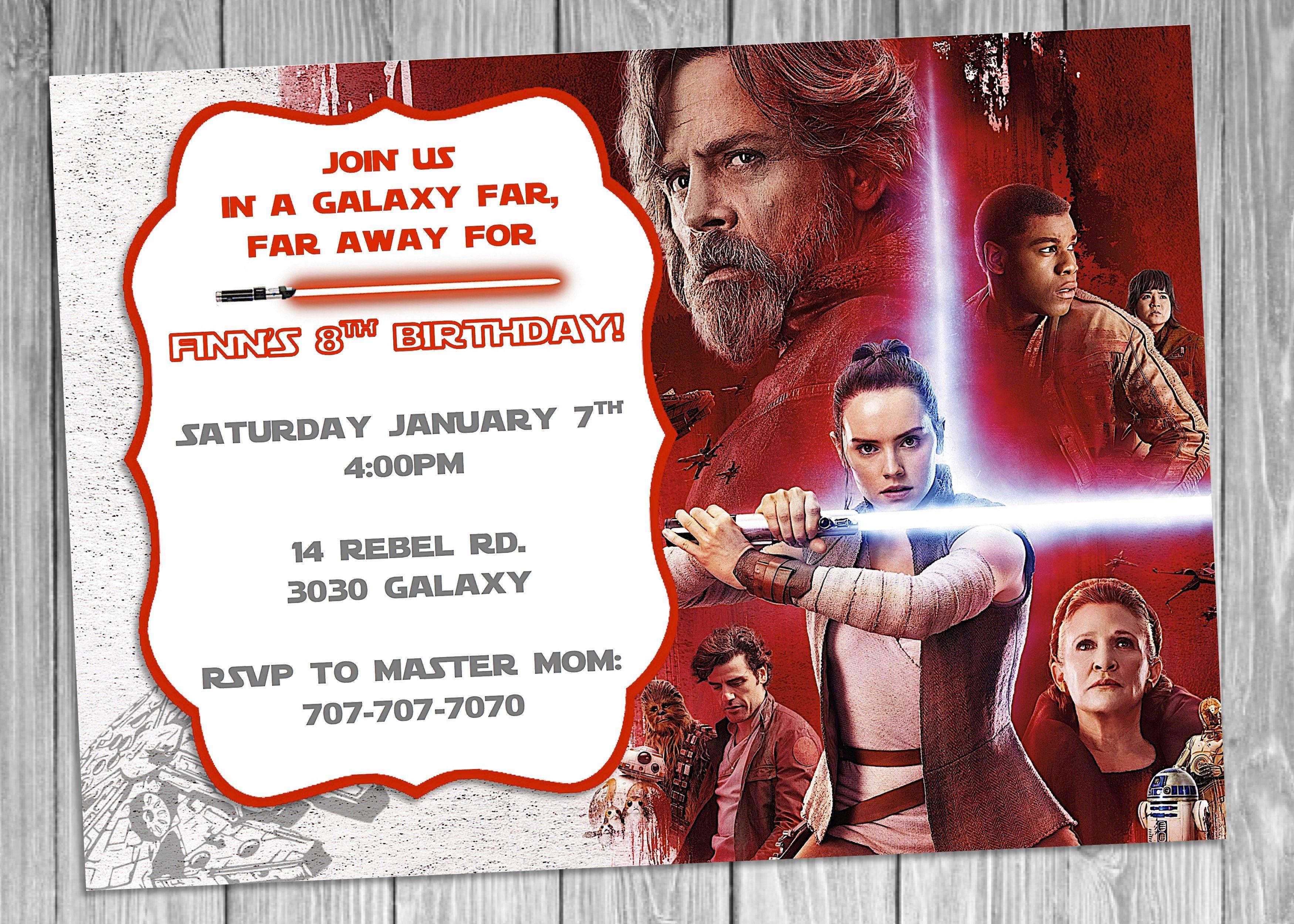 Star Wars Episode 8 Invitation, Star Wars Birthday Invitation | Star ...