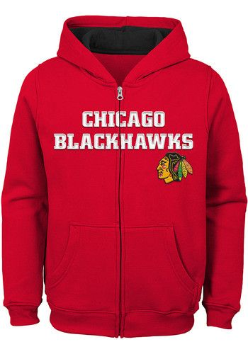 Chicago Blackhawks Boys Red Prime Long Sleeve Full Zip Hooded ... ba002a8a7