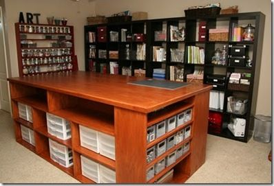 Love these work islands with storage shelves in them....different things on