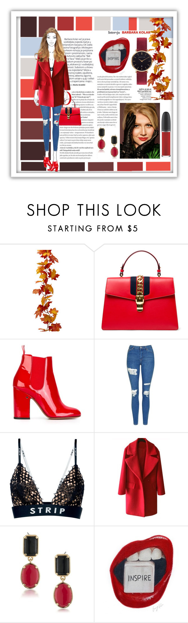 """""""Untitled #534"""" by debysilviaa ❤ liked on Polyvore featuring GALA, Gucci, Laurence Dacade, Topshop, Alexander Wang, 1st & Gorgeous by Carolee, Abbott Lyon and MAC Cosmetics"""