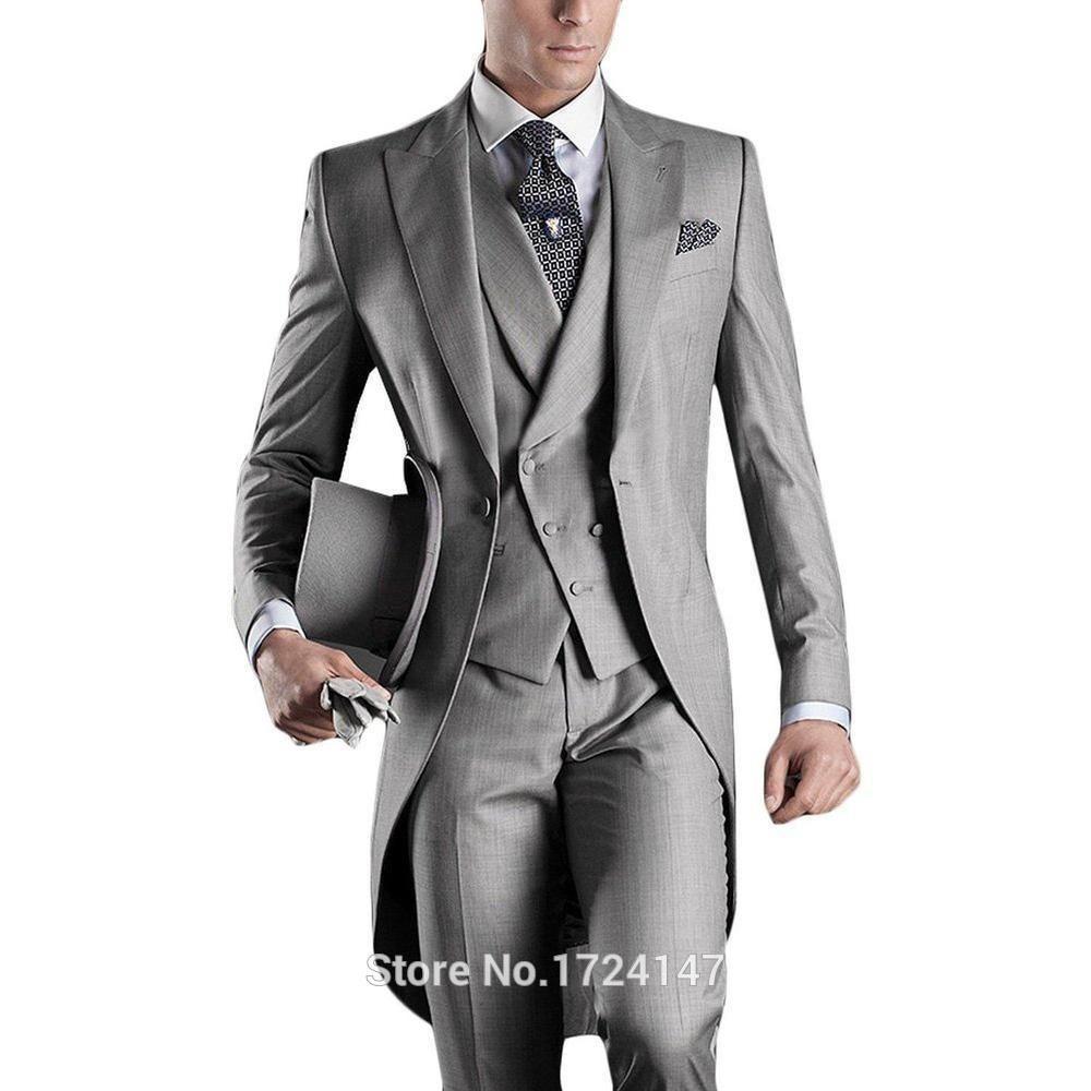Recién llegado de italia hombre tailcoat trajes de boda gris para hombre  trajes padrinos de boda 3 unidades trajes de boda del novio alcanzó solapa  hombres ... 55f63304a649