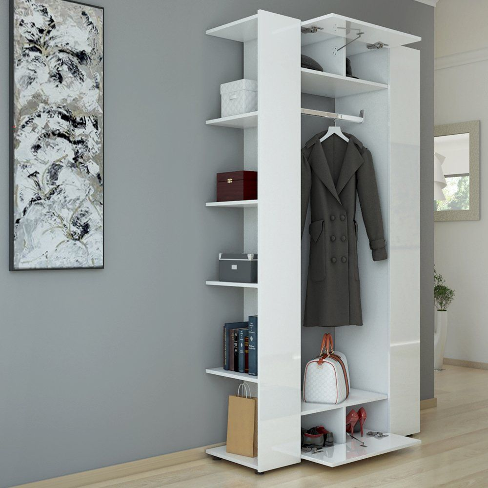 Hall Clothes Rack Compact Wardrobe Hall Cabinet Wall Cabinet Shelf