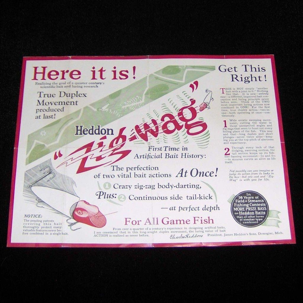 1920s Heddon Zig-Wag flyer.