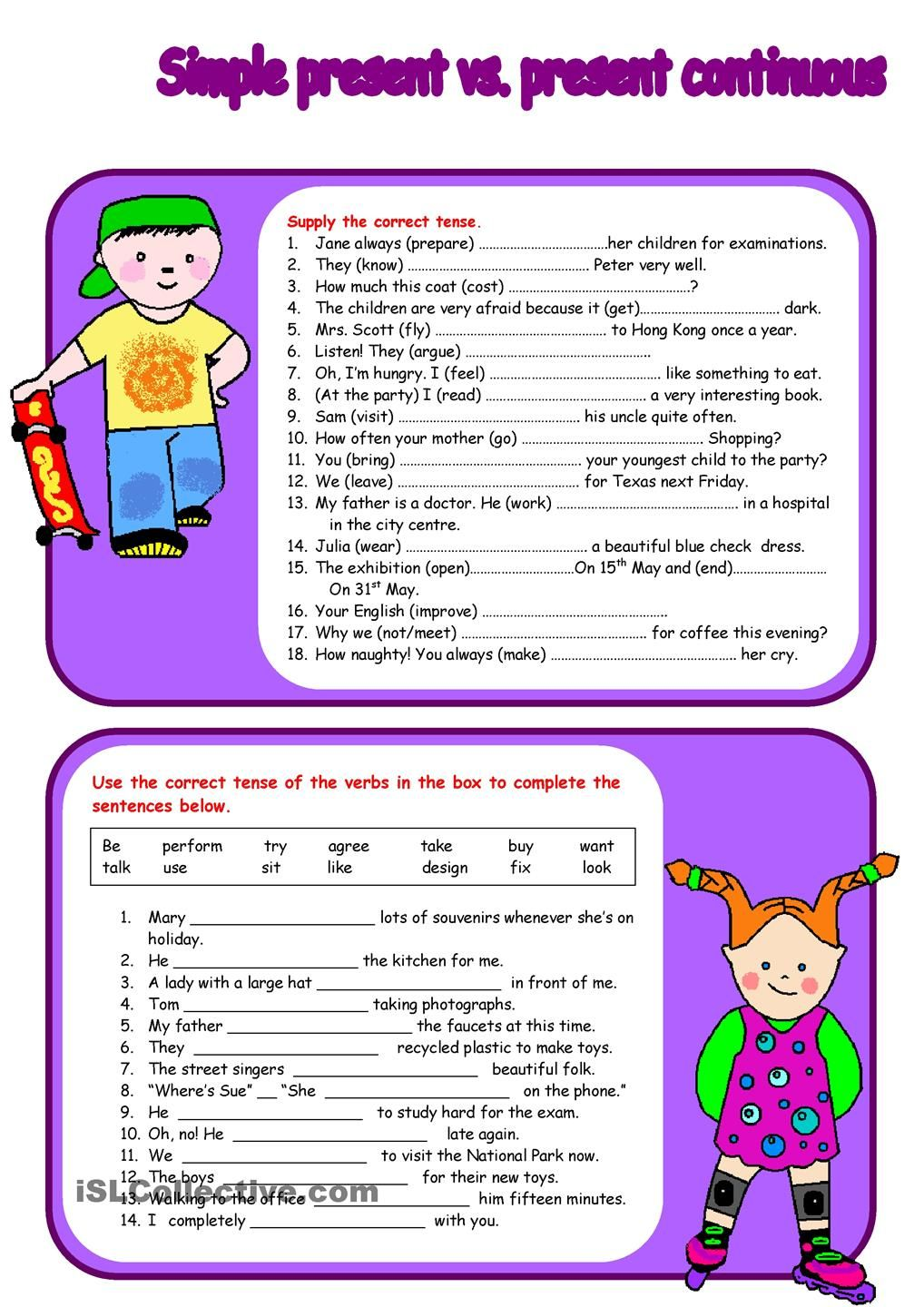 Writing future tense of verb worksheet turtle diary - Here Is A Four Page Exercise To Practise The Use Of The Simple Present Tense And The Present Continous Tense Students Have To Supply The Correct Tense Of