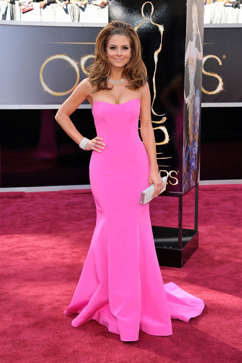 Celebrity Maria Menounos Oscars Red Carpet Strapless Trumpet Pink ...