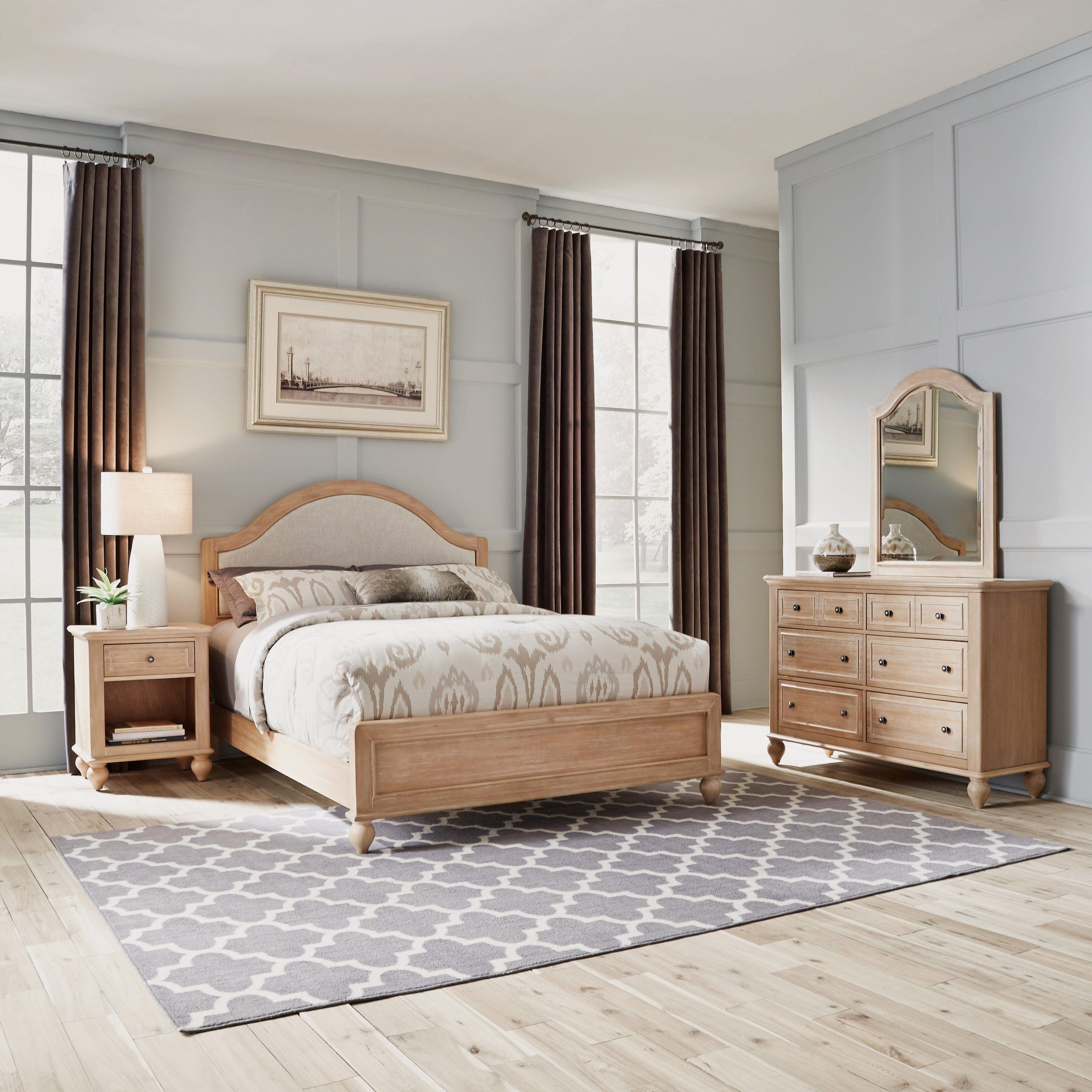 Cambridge Queen Bed Dresser With Mirror Night Stand Natural