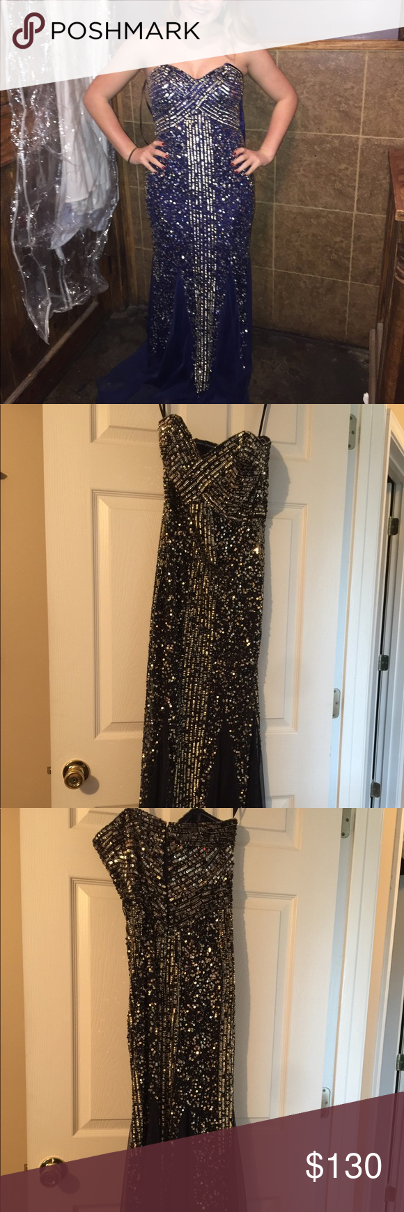 Stunning navy sequin prom dress this is a beautiful form fitting
