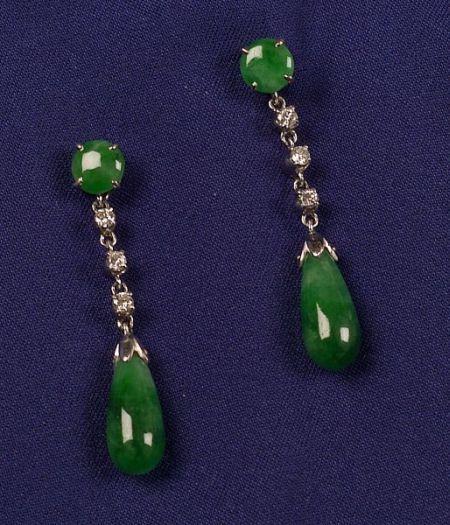 Jadeite and Diamond Earpendants