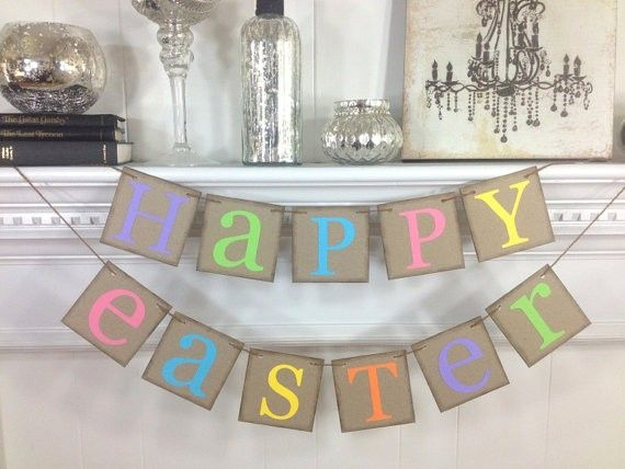 Happy Easter Banner Rustic Garland Fireplace Mantel Decor Decoration Ideas