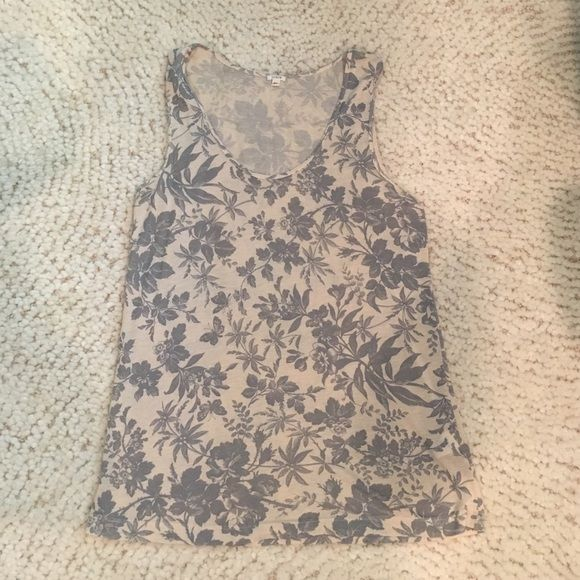 J. Crew Nature Tank J. Crew Tank: Beautiful butterfly and floral Tank in gray and cream. Size: XS. Condition: Excellent. Material; 85% Viscose and 15% Linen J. Crew Tops Tank Tops