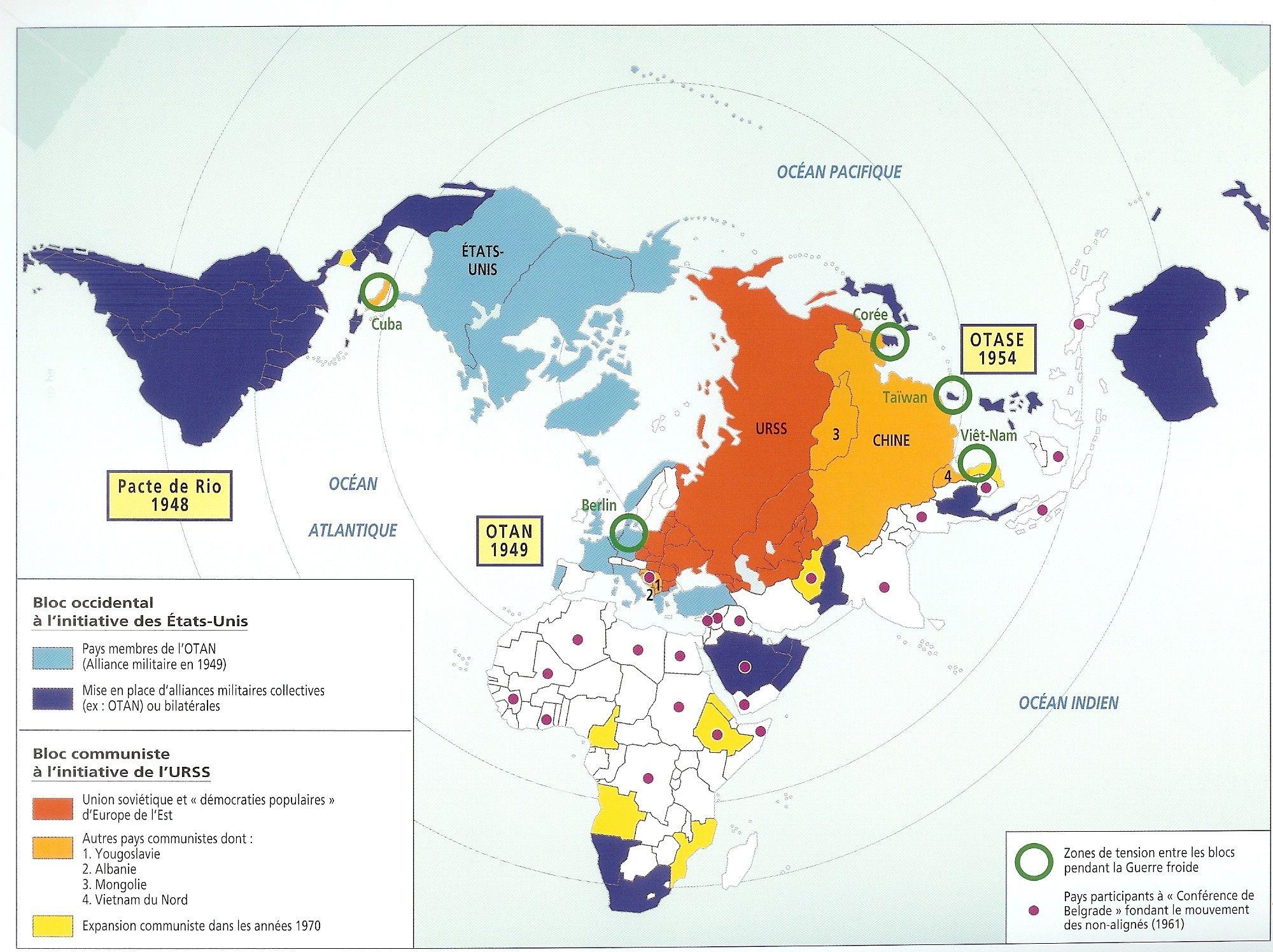 Carte Du Monde Pendant La Guerre Froide.Organisation Du Monde Pendant La Guerre Froide Geographie
