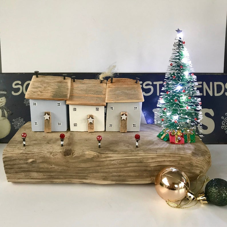 Driftwood Cottages Wood Christmas Ornament Light Up Christmas Etsy Wood Christmas Ornaments Christmas Light Ornament Wooden Christmas Ornaments