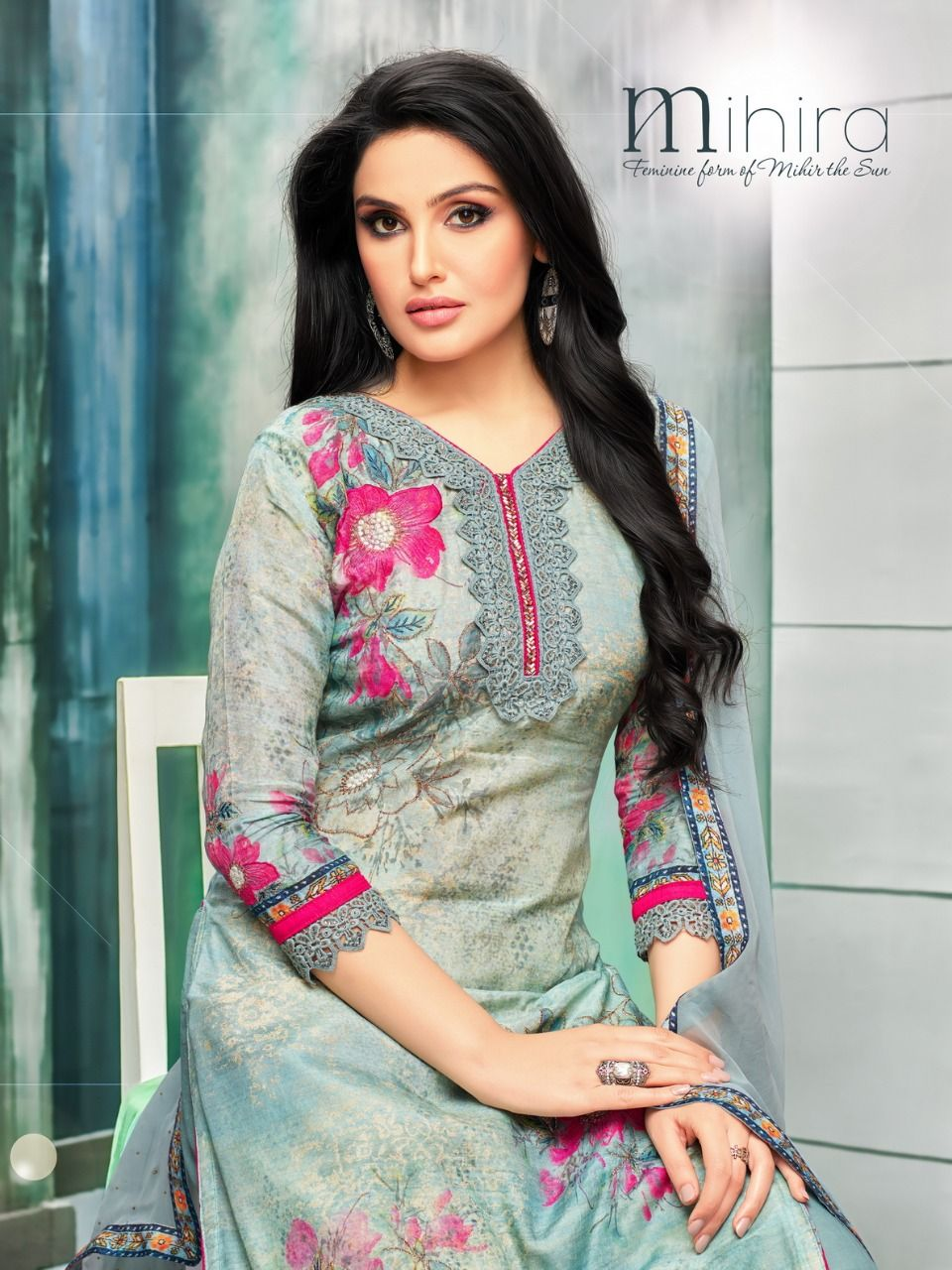 caefc778a9 Moof Fashion Mihira Digital Printed Pure Maslin with Embroidery Work Dress  Material Dealer Surat