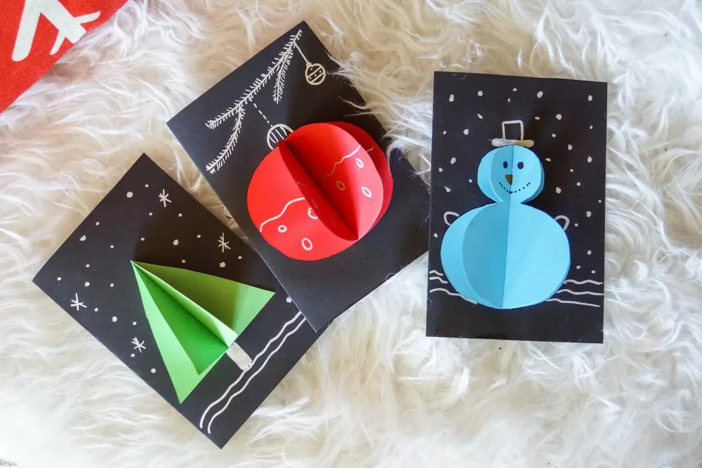 ?⛄️❄️ Des cartes de vœux en 2 min pour Noël ❤️ #cartedenoelenfant