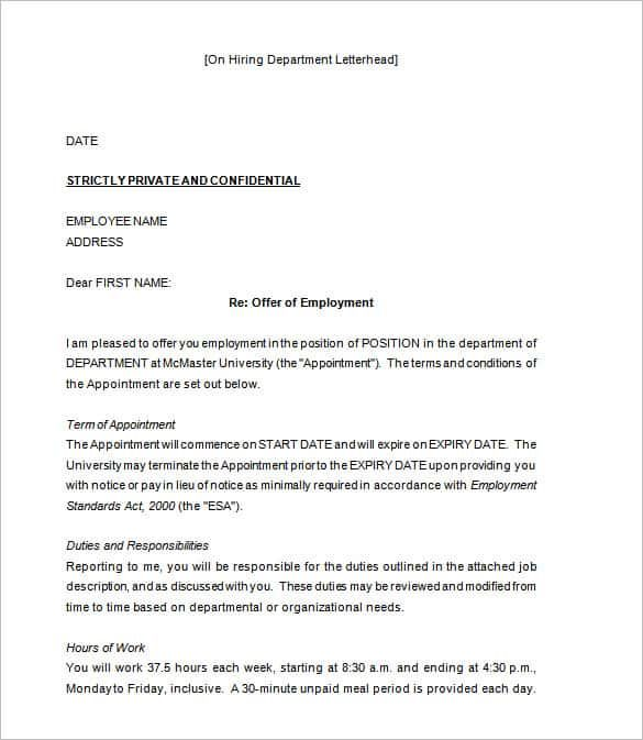 offer letter template free word pdf format amp premium sample - employment offer letter