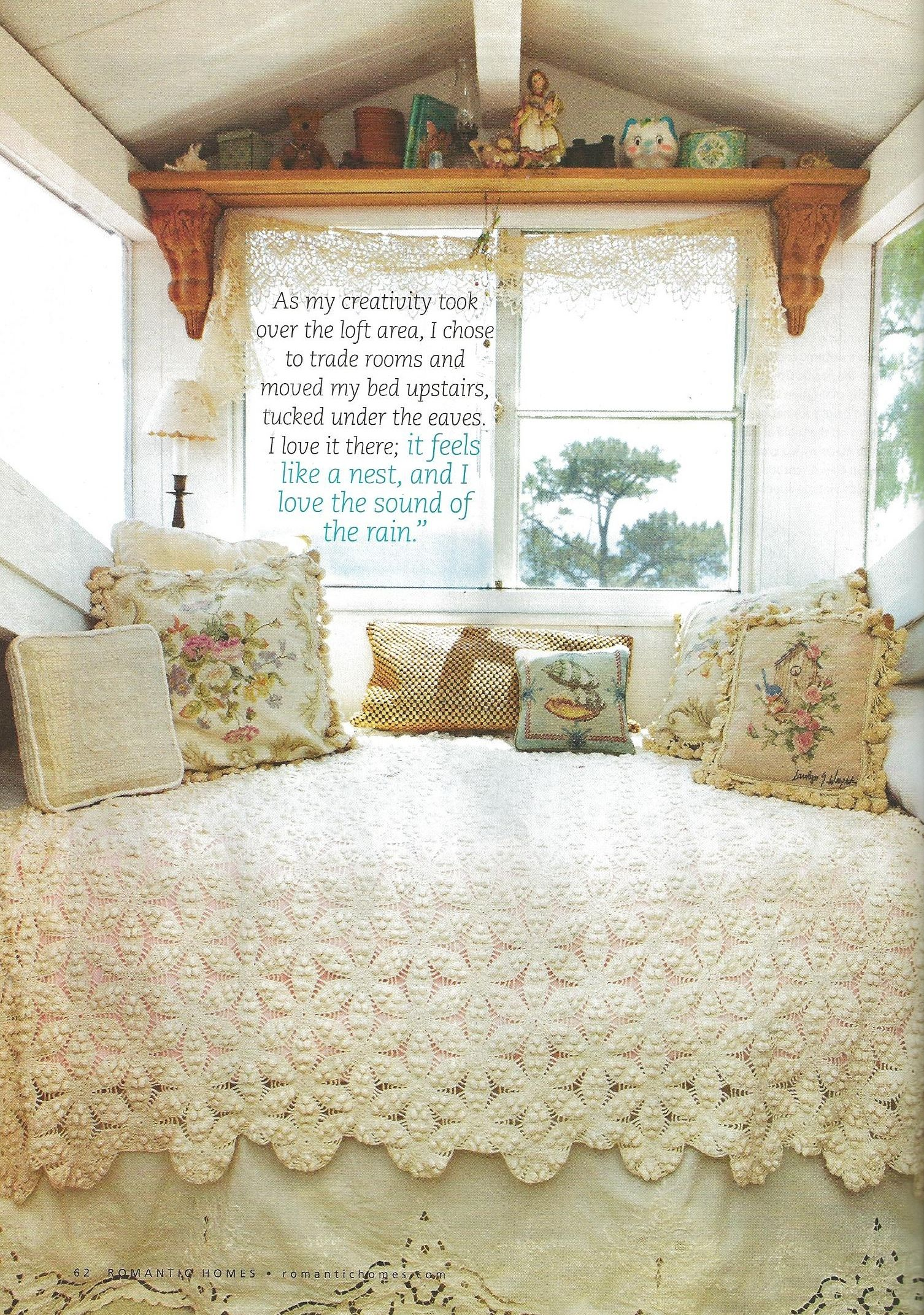 inspiration for vintage trailer from Romantic Homes magazine. I like the idea of writing an inspirational something on the window.