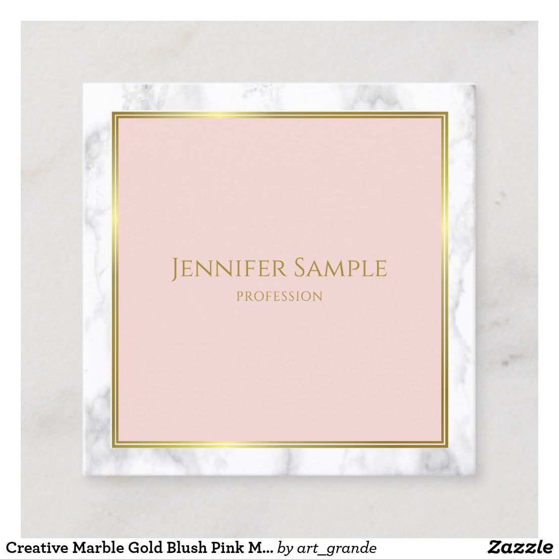Creative Marble Gold Blush Pink Modern Template Square