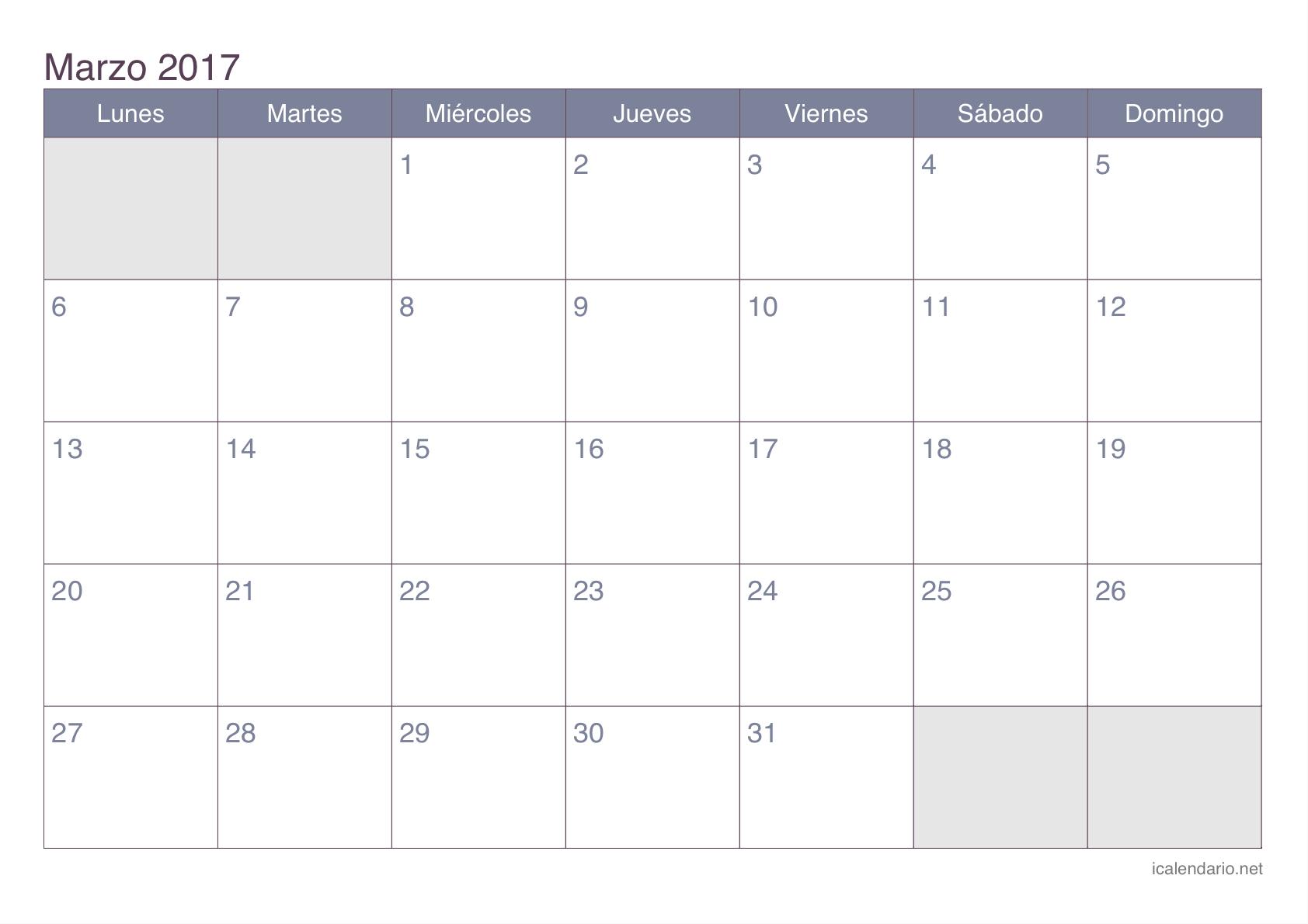 Calendario de marzo 2017 - office | calendario | Pinterest ...