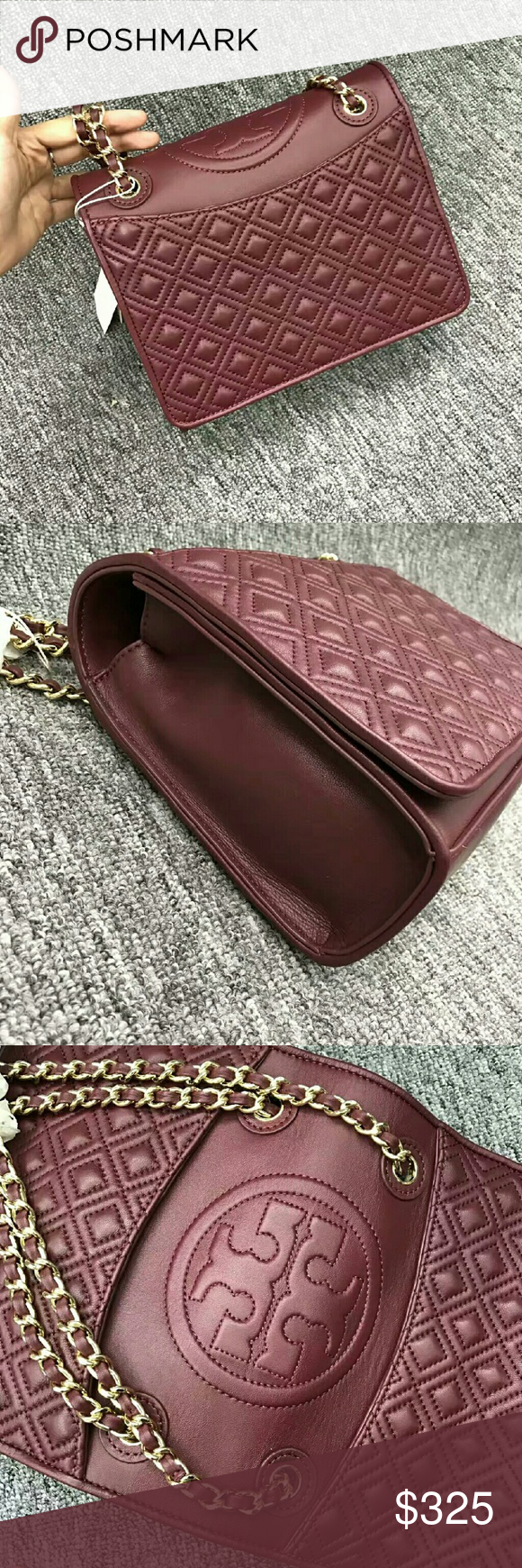 Tory Burch Wine Red Fleming Medium Bag This Is Made Of Supple Convert Leather Detailed With
