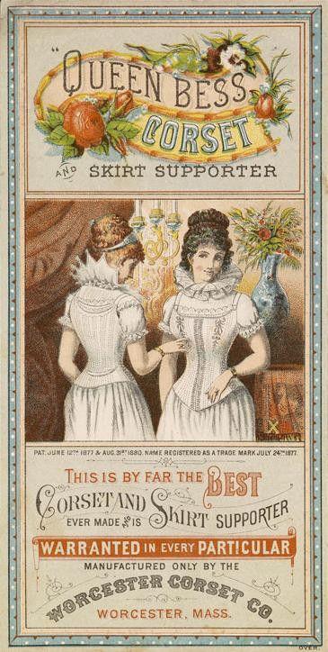 Vintage Advertising ~ Queen Bess Corset & Skirt Supporter Trade Card   c. 1877