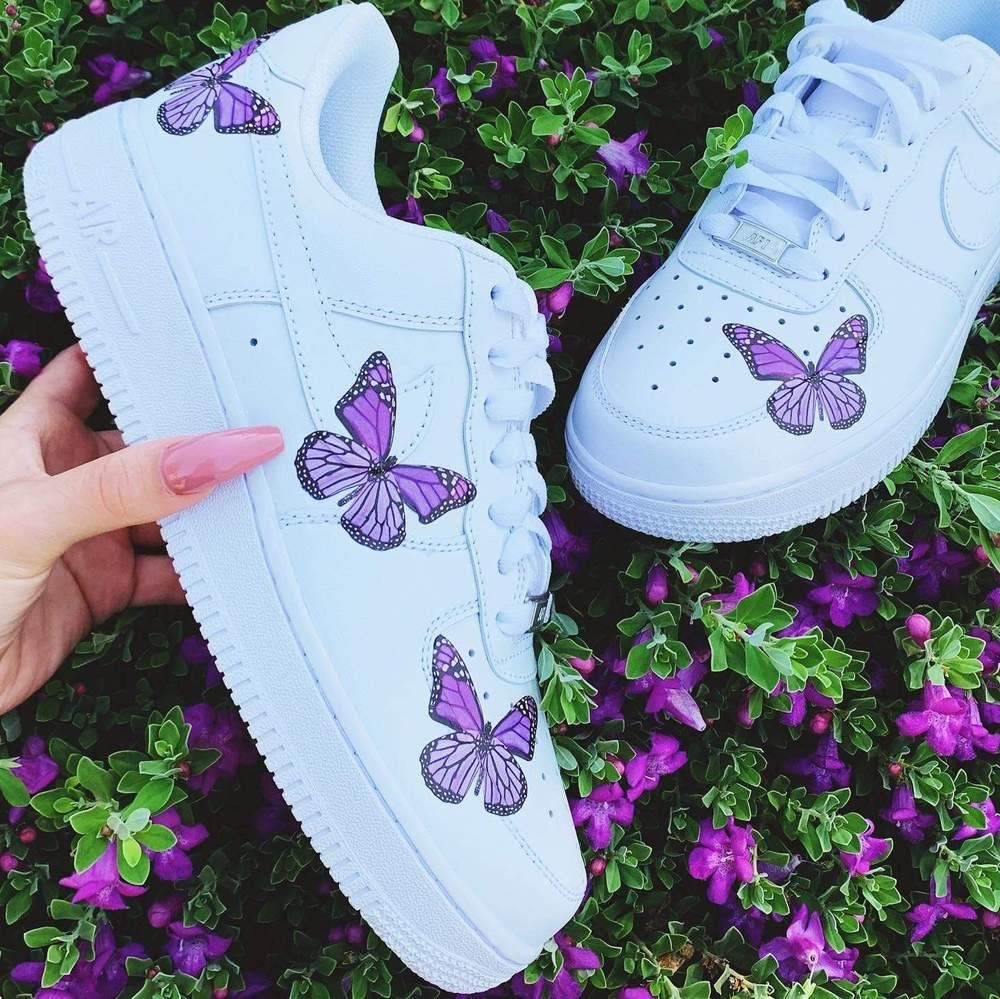 Purple Butterfly AF1 Nike air force, Nike air, Purple