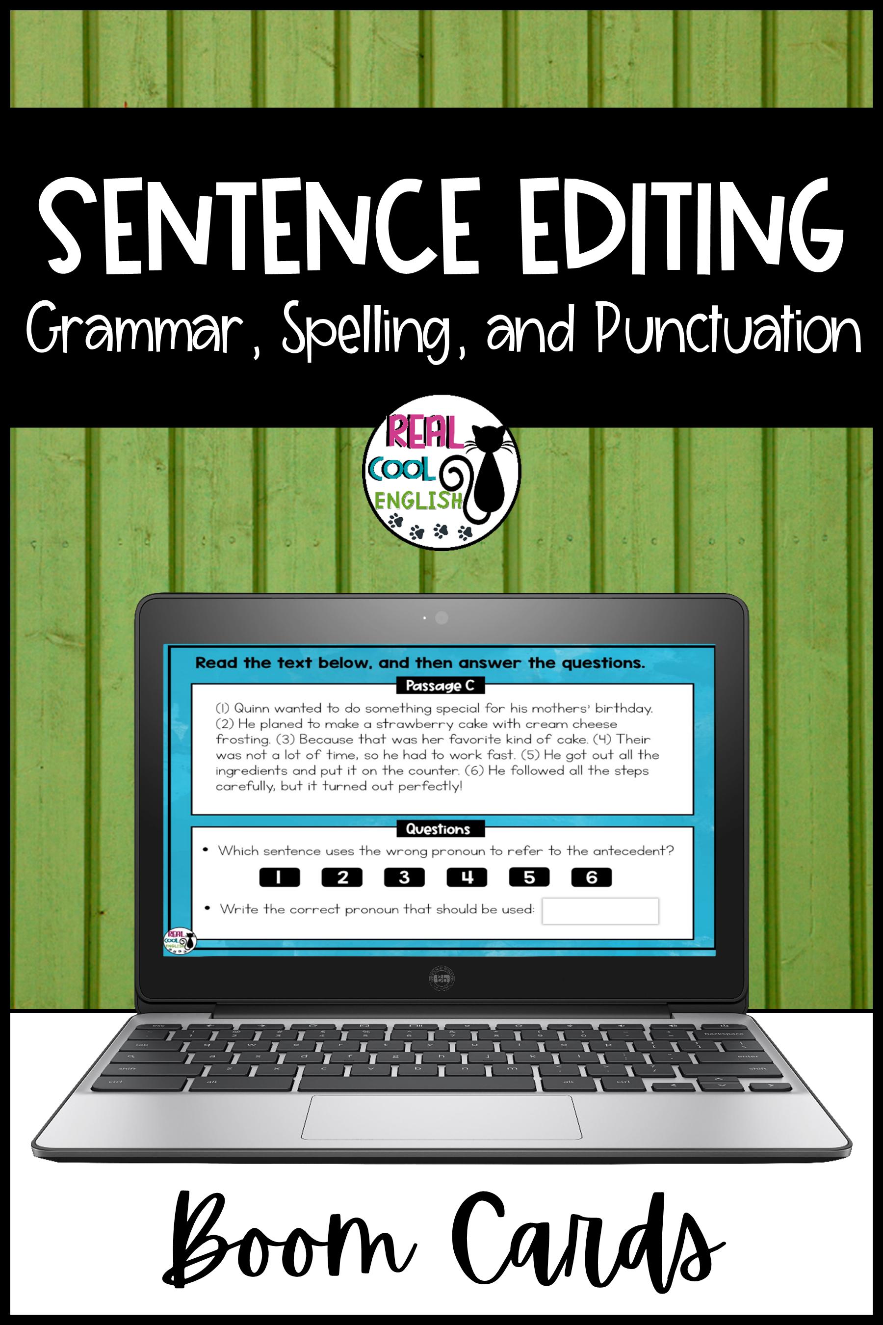 Sentence Editing Boom Cards Grammar And Mechanics Fix Its Sentence Editing Run On Sentences Teaching Verbs [ 2700 x 1800 Pixel ]