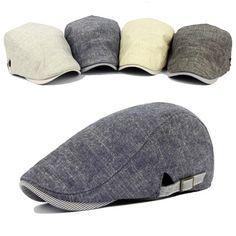 d80b821c45f9b Men Cotton Beret Hat Buckle Adjustable Paper Boy Newsboy Cabbie Golf  Gentleman Cap at Banggood