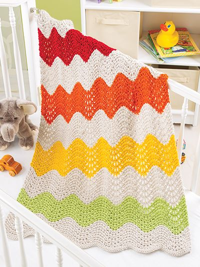 Free knitting pattern for Ripple Stripe Blanket and more ...