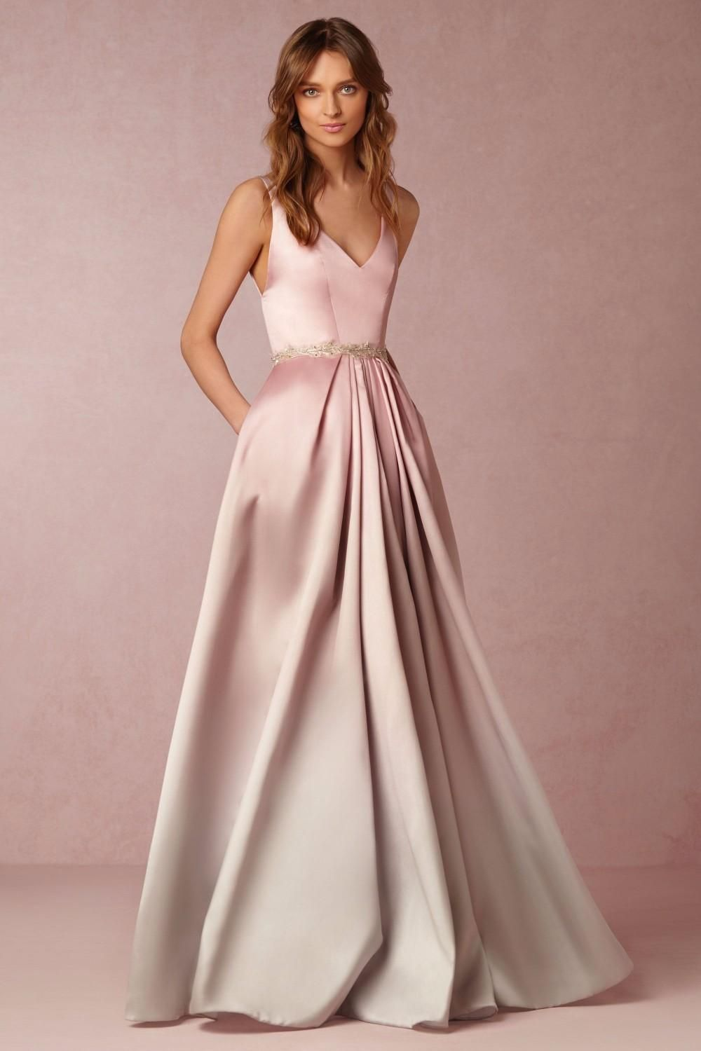 2016 elegant long evening dress sexy v neck backless light pink ...